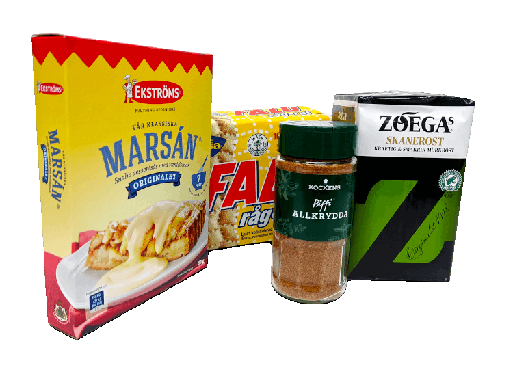 Ekströms marsansås, Falu råg-rut, Kockens Piffi allkrydda och Zoegas skånerost
