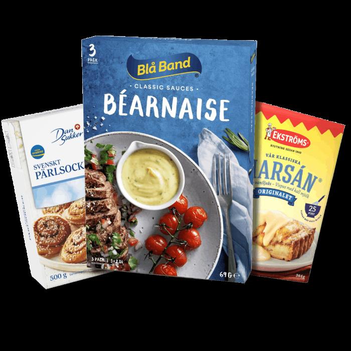 Topp 3 storsäljare i kategorin Svensk mat. Dansukker Pärlsocker, Blå band Bearnaisesås och Ekströms vaniljsås. Klicka på bilden för att se fler storsäljare.