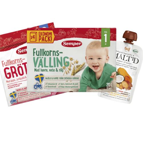 Topp 3 storsäljare i kategorin Svensk barnmat. Klicka på bilden för att se fler storsäljare.